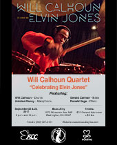 Poster: Will Calhoun Quartet in Washington, DC - Friday, September 22 and Saturday, September 23, 2017