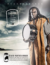 Will Calhoun holding the Mapex Black Panther: Nomad drum