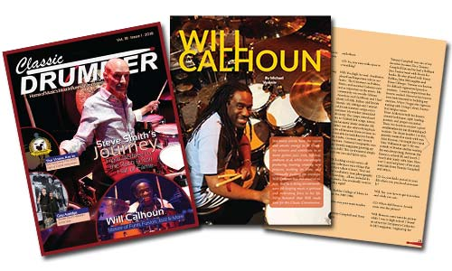 Image of the January 2018 Classic Drummer cover, and interview with Will Calhoun