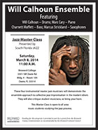 flyer for Jazz Master Class at Broward College, FL
