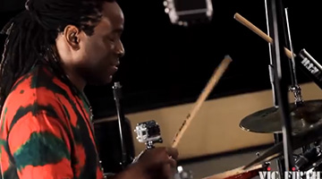 Will Calhoun performs for the Vic Firth cameras during a recent shoot in New York City