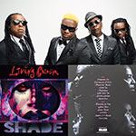 A montage of Living Colour band members, the front of the Shade album, and its back.